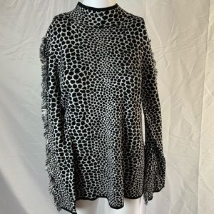 NWT INC mock neck animal print sweater